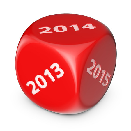 Next 2014 year concept. Big red dice with options. photo
