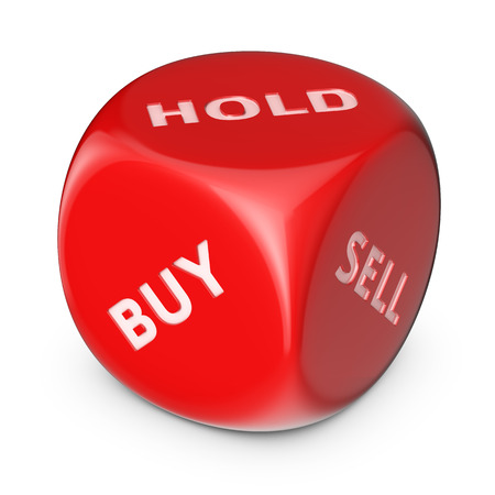 Tool for success trading. Big red dice with options. photo