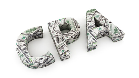 cpa: Word CPA made from dollar banknotes on white background Stock Photo