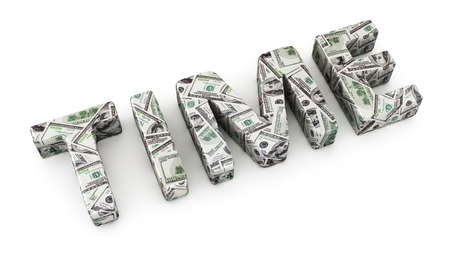 monetize: Word TIME made from dollar banknotes on white background Stock Photo