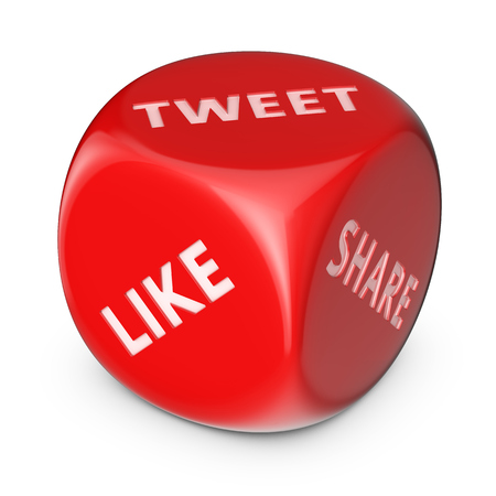 Like and tweet concept. Big red dice with options. Stock Photo - 23444038
