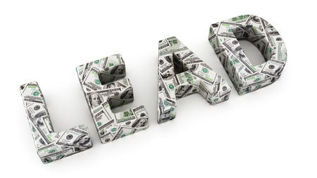 Word LEAD made from dollar banknotes on white background photo