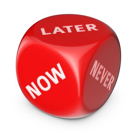 procrastination: Procrastination concept. Big red dice with options. Stock Photo