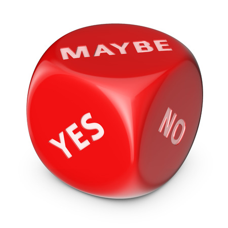 Concept of uncertainty. Big red dice with options.