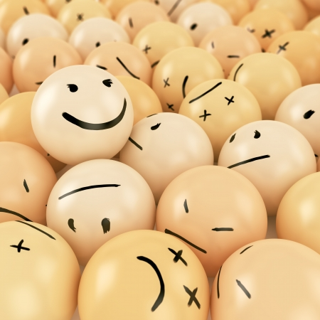 One smiley ball on top of heap of angry balls with different emotions