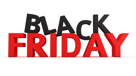 3D label Black Friday op de witte achtergrond Stockfoto