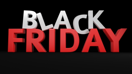 friday: 3D label Black Friday on black background