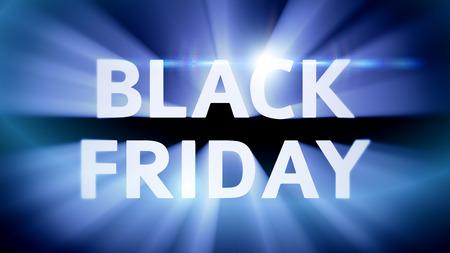 Title Black Friday in blue light streaks photo