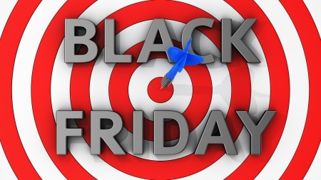 The concept of Black Friday profit with a hit right on target photo