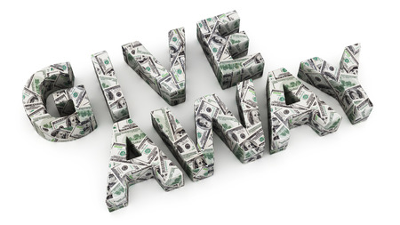 giveaway: Word Giveaway made from dollar banknotes on white background