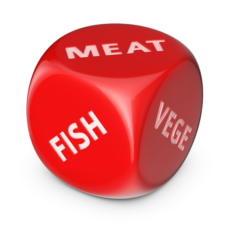game meat: Diet concept. Big red dice with options.