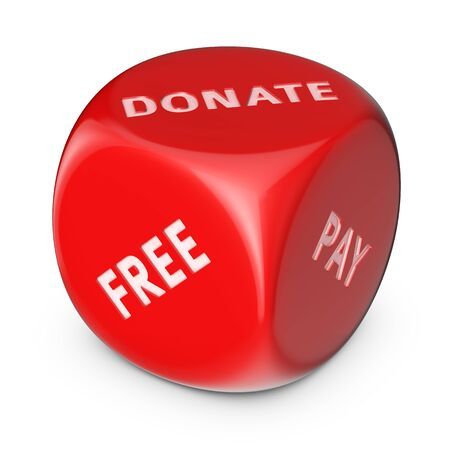 shareware: Funding concept. Big red dice with options. Stock Photo