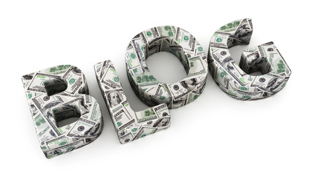 monetize: Word BLOG made from dollar banknotes on white background