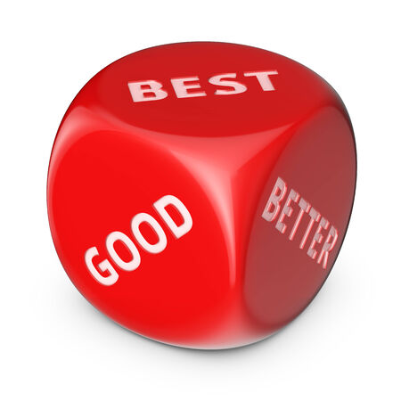 Choice between good and best. Big red dice with options. Stock Photo