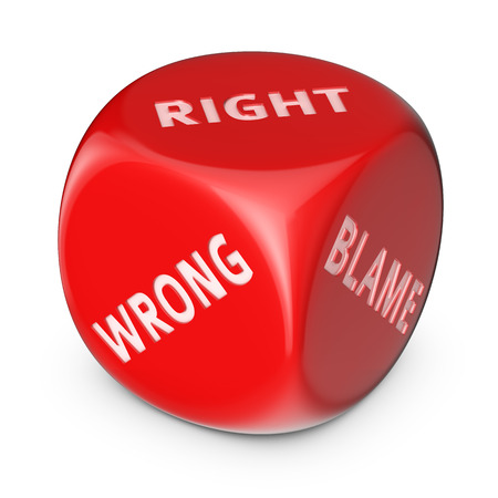right vs wrong: Right-wrong concept. Big red dice with options.