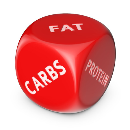carb: Diet concept. Big red dice with options.