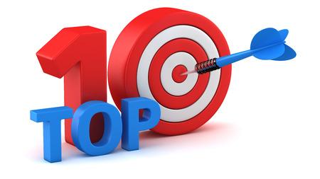 numero diez: Palabra Top 10 con diana en el fondo blanco