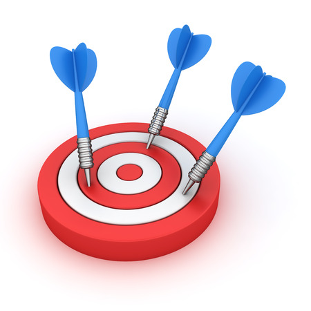 missed: Dartboards with three darts missed off Stock Photo