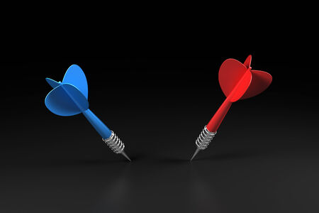 Red and blue darts with steel edge on the black background Stock Photo - 25860353