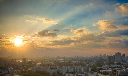 Picturesque sunset in megalopolis Bangkok, Thailand, Asia photo