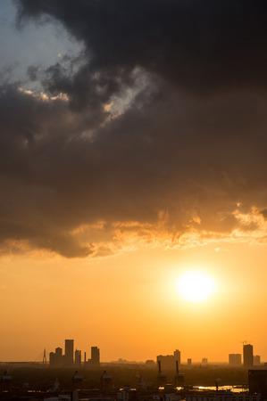 Picturesque sunset in megalopolis Bangkok, Thailand, Asia photo