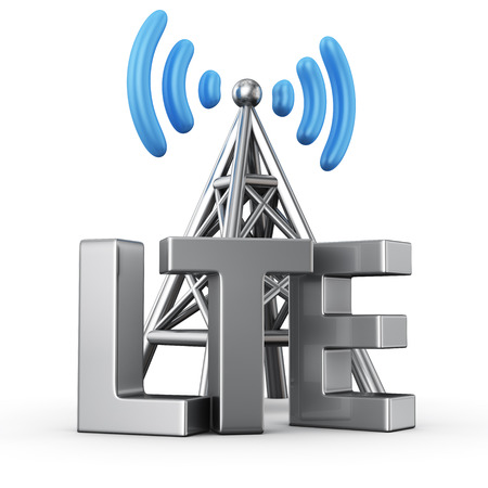 broadband: Metal antenna symbol with letters LTE on white Stock Photo