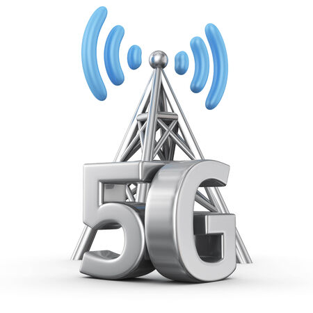 Metal antenna symbol with letters 5G on white Banco de Imagens
