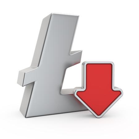 depreciation: Litecoin currency symbol and icon of depreciation