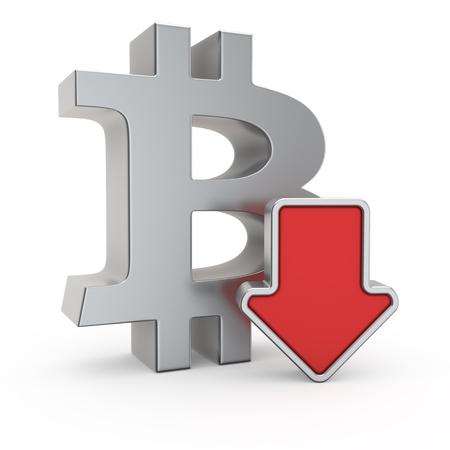 depreciation: Bitcoin currency symbol and icon of depreciation Stock Photo
