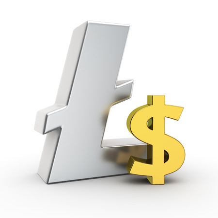 ltc: Metallic Litecoin symbol with small golden dollar sign
