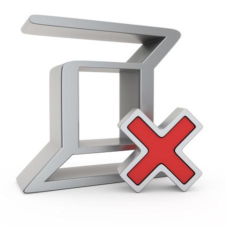 red x: Metallic Zerocoin symbol with small red X mark Stock Photo
