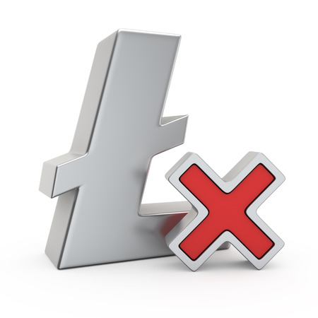 red x: Metallic Litecoin symbol with small red X mark Stock Photo
