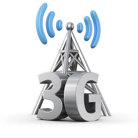 transmit: Metal antenna symbol with letters 3G on white Stock Photo