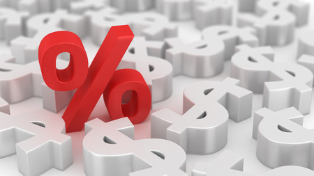 percentage sign: Single red percent symbol among many dollars