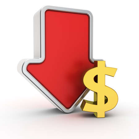 fall down: Big red arrow with small golden dollar symbol