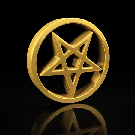 Pentagram gold symbol on a black background with reflection photo