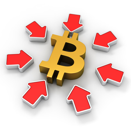 Golden bitcoin symbol surrounded by red arrows photo