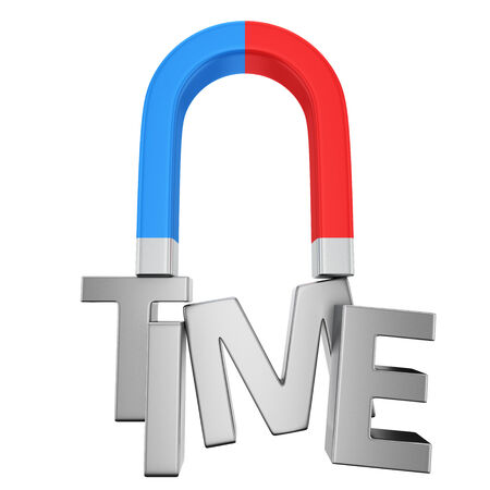 attract: Blue-red magnet magnetizes the word Time