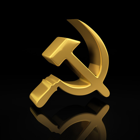 hammer and sickle: Hammer and sickle gold symbol on a black background with reflection