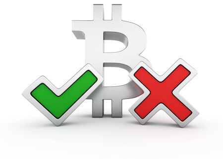 Metallic bitcoin symbol with green tick mark and red X mark photo