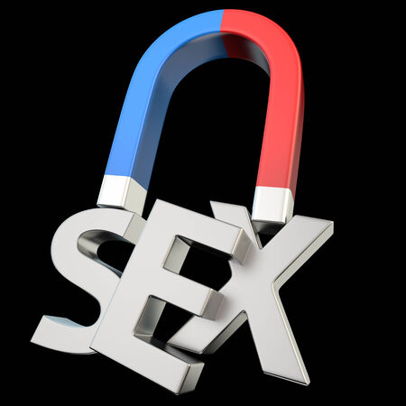 Magnet magnetizes the word Sex on black photo