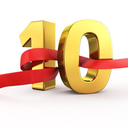 numero diez: Oro n�mero diez con la tela roja ondeando Foto de archivo