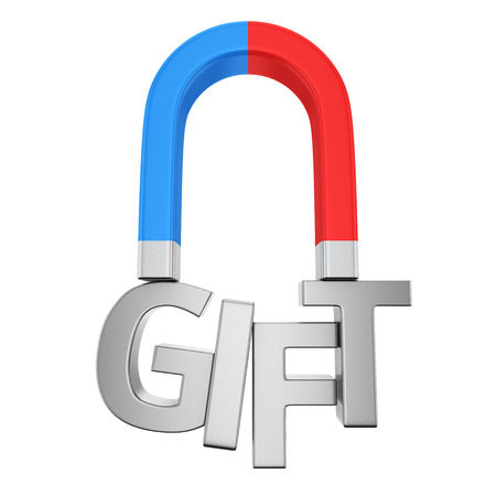 magnetize: Blue-red magnet magnetizes the word Gift