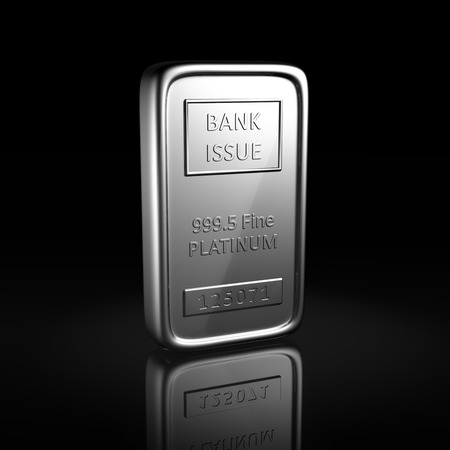 Platinum ingot on black background with reflection Stock Photo
