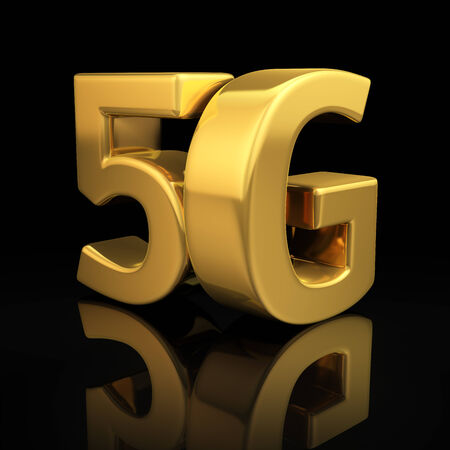 5G letters on black background with reflection photo