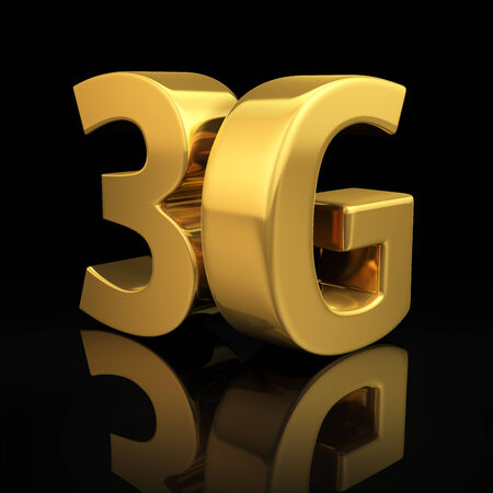 3g: 3G letters on black background with reflection Stock Photo