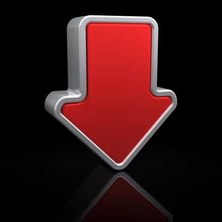 move arrow icon: Downward arrow on black background with reflection Stock Photo