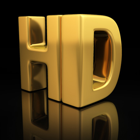 HD letters on black background with reflection Stock Photo