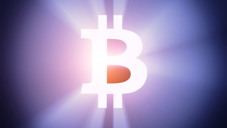 radiant light: Radiant light from the symbol of bitcoin Stock Photo