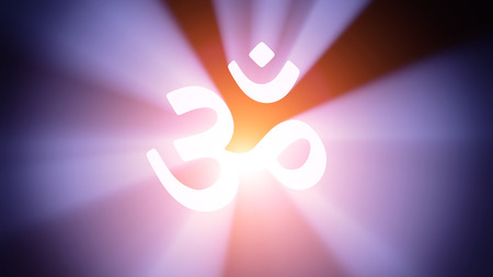 Radiant light from the symbol of Aum Stock Photo - 26894772